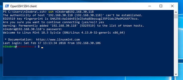 OpenSSH Powershell