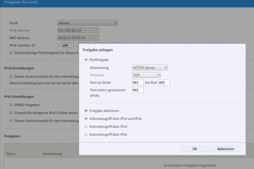 Portfreigabe in Fritzbox erstellen