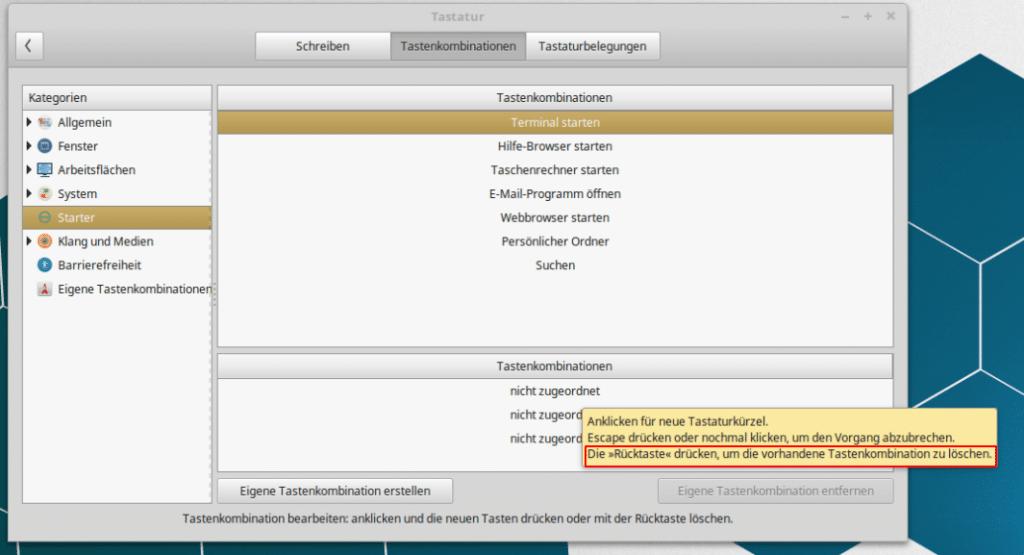 Linux Mint Tastaturshortcut löschen