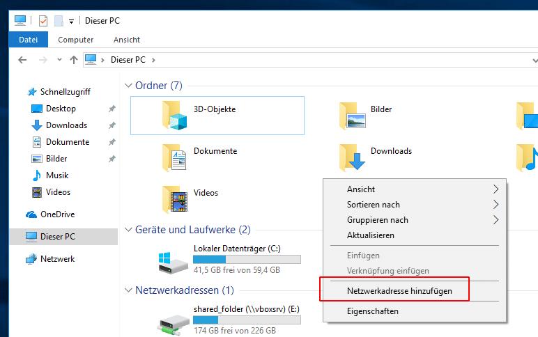 Windows 10 Netzwerkadresse hinzufügen