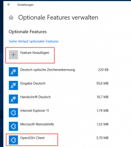 Windows 10 SSH-Client installieren