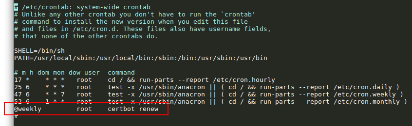 Crontab für Let's Encrypt