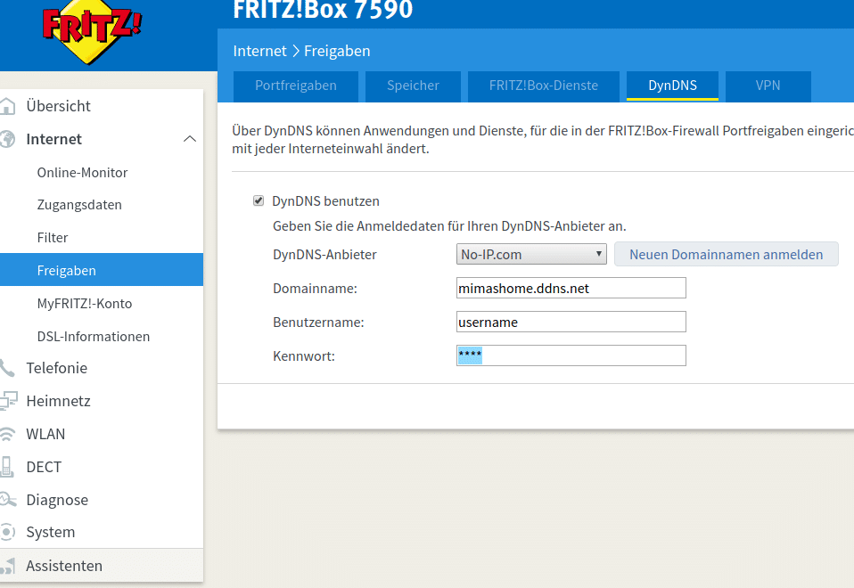 No-IP account in Fritzbox eintragen