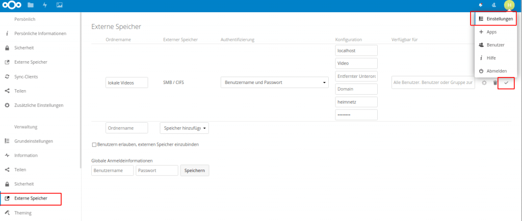 Nextcloud mount SMB-Shares