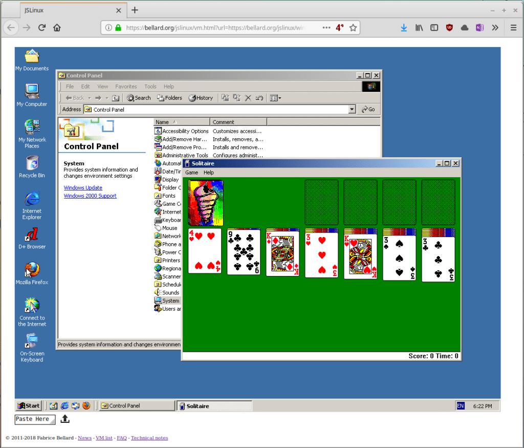 Windows 2000 VM im Browser