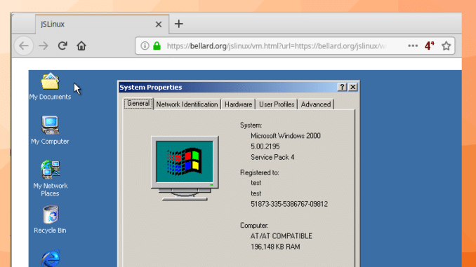 Windows 2000 VM im Browser Beitragsbild