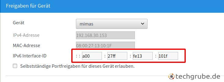 Interface ID in Fritzbox eintragen