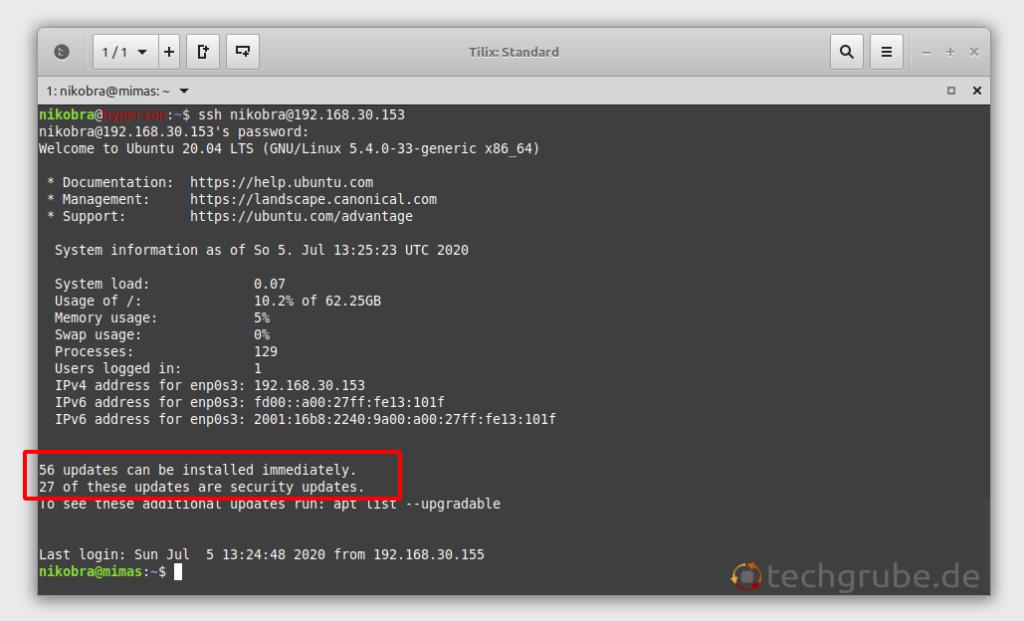 Ubuntu Server verfügbare Updates