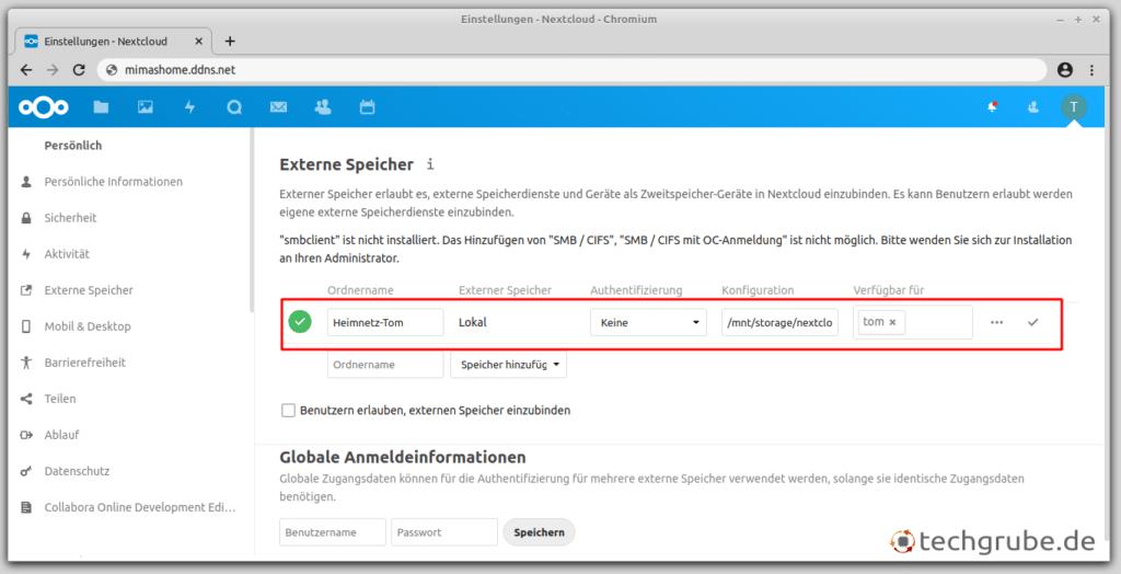 Ordner mit dem External-Storage-Plugin in Nextcloud einbinden