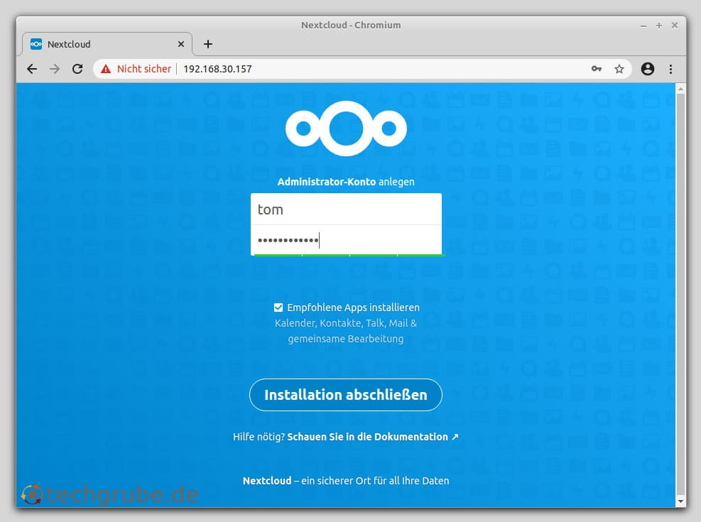 Nextcloud im Webbrowser aufrufen